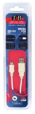 Câble USB 2 0 A MALE MINI
