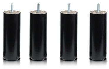 Pieds Cylindre Noir 17 cm