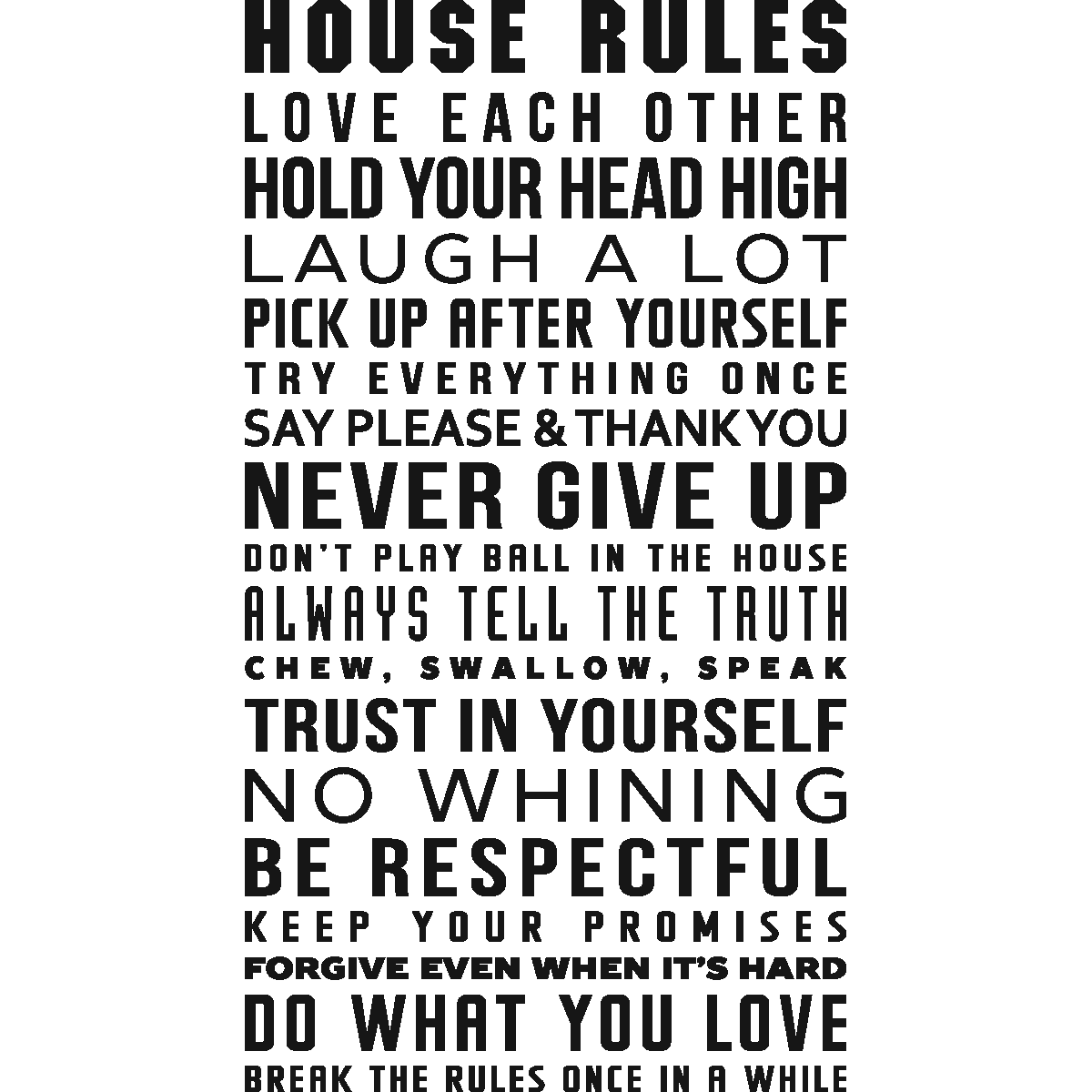 Sticker house rules design