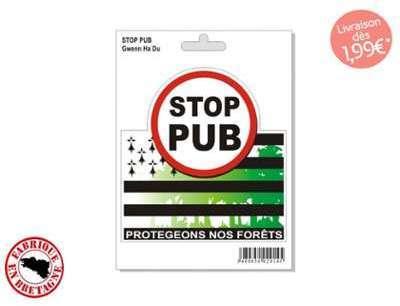 Autocollant Stop Pub drapeau