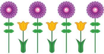 Sticker fleurs violettes et