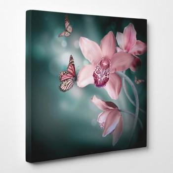 Tableau toile - Fleurs Papillon
