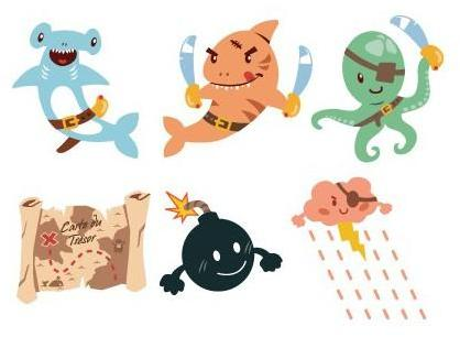Stickers frise Poissons pirates