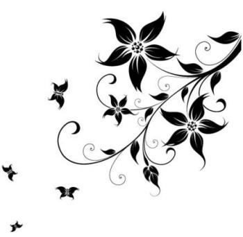 Stickers Fleur Papillons NOIR