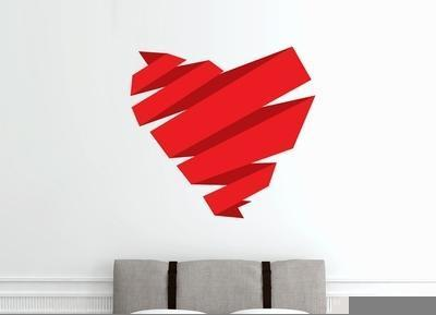Sticker origami coeur rouge