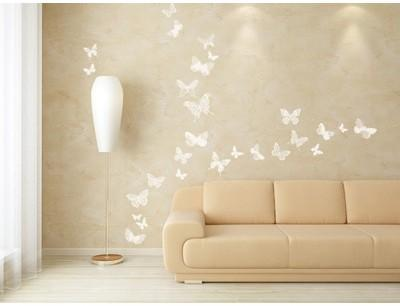 26 stickers papillons blancs