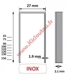 Agrafes BS 75 mm inox A2 -