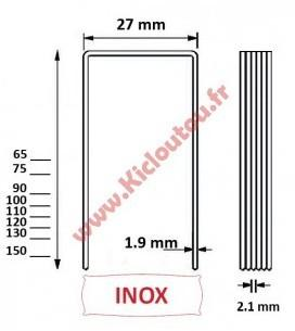 Agrafes BS 90 mm inox A2 -