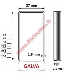 Agrafes BS 90 mm Galva - Boite