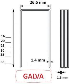 Agrafes W5562 - 16mm Galva