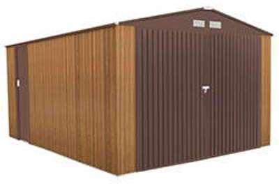 Garage en métal couleur bois