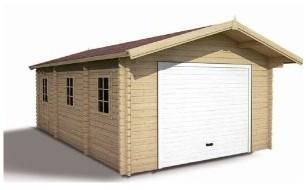 Garage en bois emboité brut