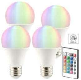 4 ampoules LED RVB E27 blanc