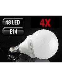 4 Ampoules 48 LED SMD E14