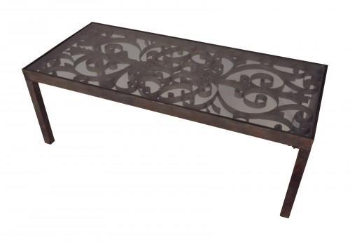 Table basse en bois l80cm avec dessus pivotant et for Grande table en verre