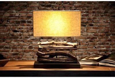 Lampe en bois flotté beige