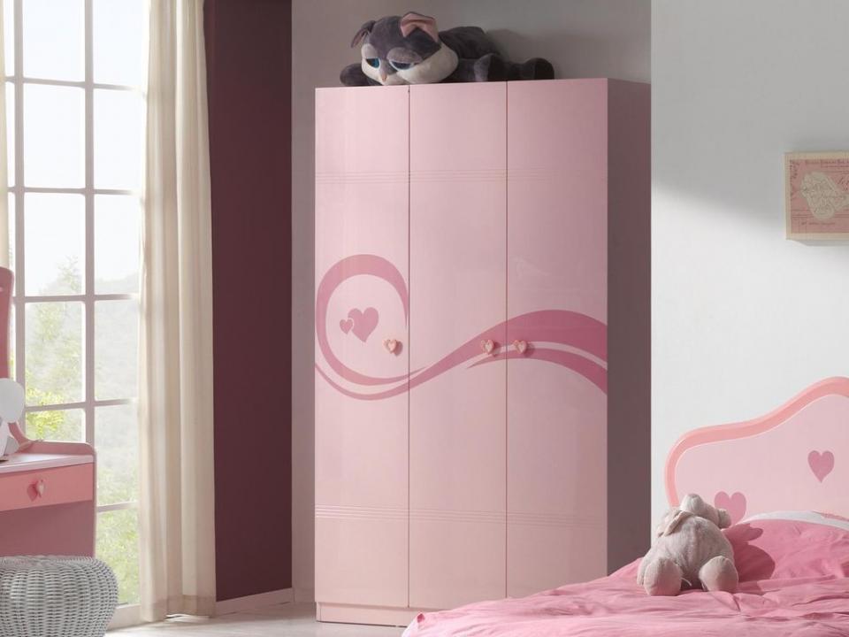 Armoire IZZY 3 portes rose