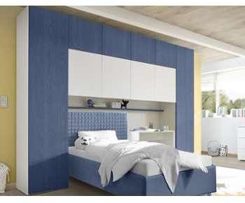 Armoire pont de lit bleue