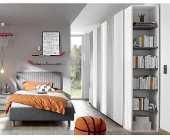 Armoire grise et blanche design
