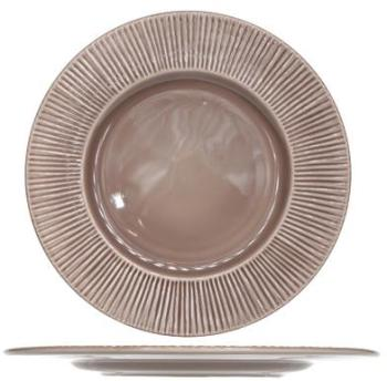 Assiette plate ronde taupe