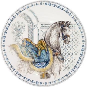 Assiettes dessert cheval bleu