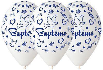 10 BALLONS BAPTÊME BLANC BIO
