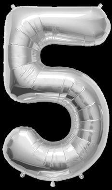 Ballon Chiffre 5 Argent 90