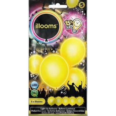 5 BALLONS LED UNIS JAUNES