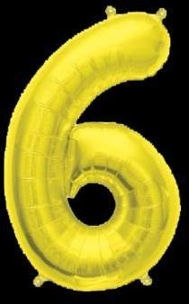 Ballon Chiffre 6 Or 35 cm