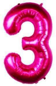 Ballon Chiffre 3 Fuchsia 90