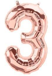 Ballon Chiffre 3 Rose Champagne