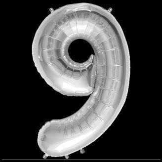 Ballon Chiffre 9 Argent 35