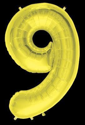 Ballon Chiffre 9 Or 90 cm