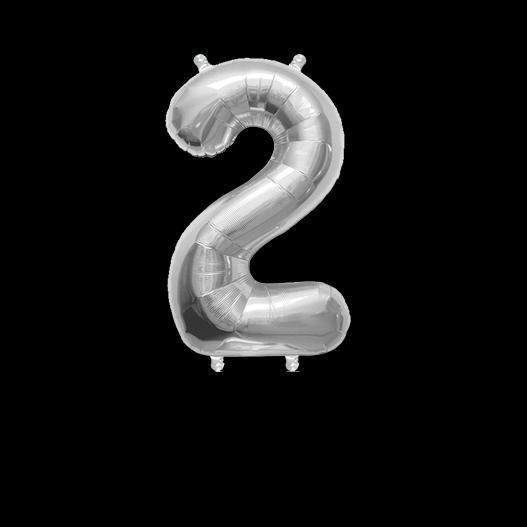 Ballon Chiffre 2 Argent 35