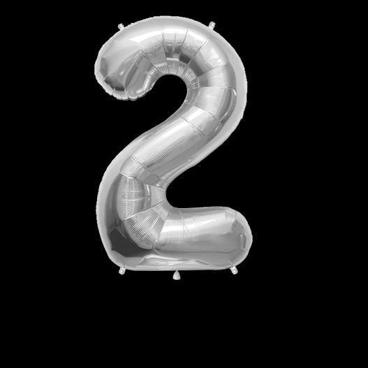 Ballon Chiffre 2 Argent 90