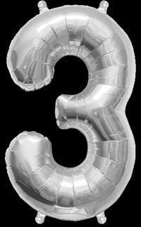 Ballon Chiffre 3 Argent 35