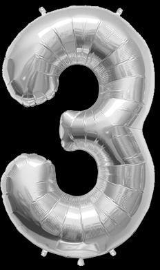 Ballon Chiffre 3 Argent 90