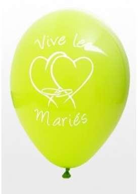 Ballon vive les mariés vert