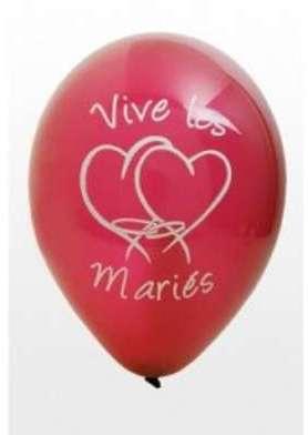 Ballon vive les mariés rouge