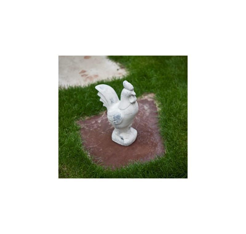 Coq céramique gris blanchit
