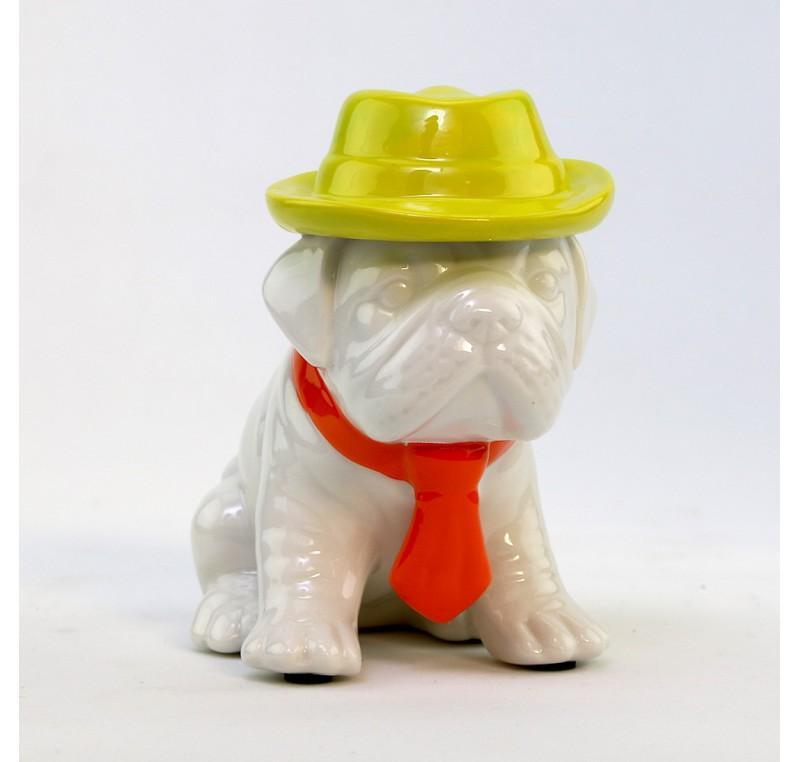 Chiot Bulldog Chapeau et Cravate