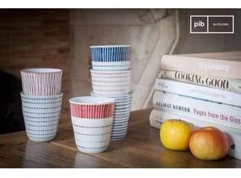 Ensemble de 6 tasses en porcelaine