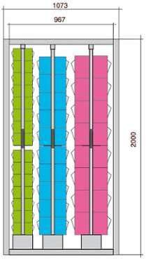 Meuble stockage 66 blocs tiroirs