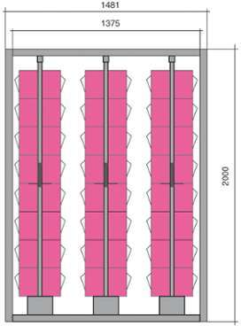 Meuble stockage 48 blocs tiroirs