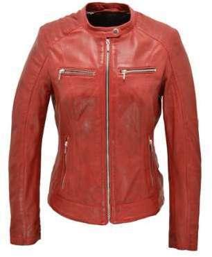 Blouson cuir femme rouge JODY