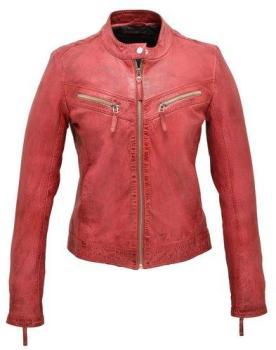 Blouson cuir femme rouge redskins