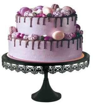 Présentoir gâteau noir broderie