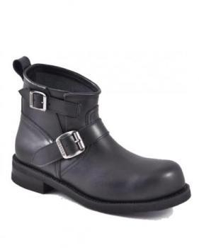 Boots moto cuir noir bout