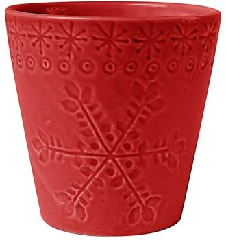 Bougie pot de flocon rouge