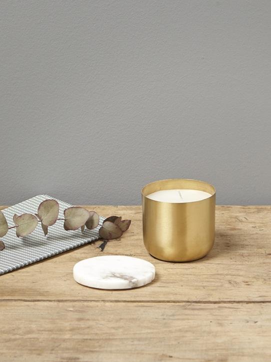 Bougie métal doré et marbre